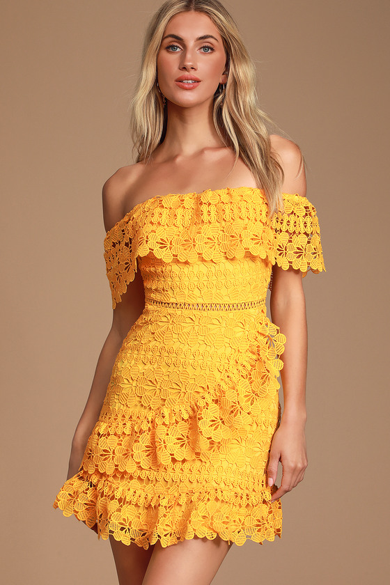 Frill And Grace Yellow Lace Off The Shoulder Dress