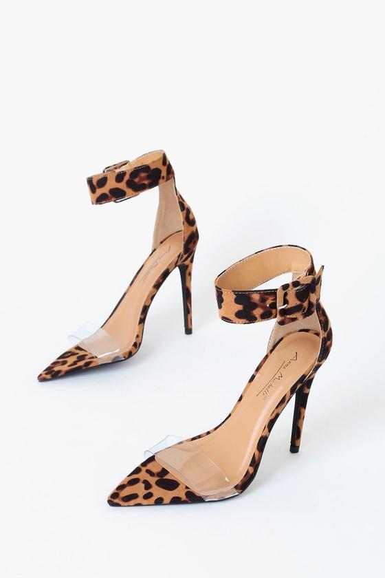 leopard print pointed toe heels