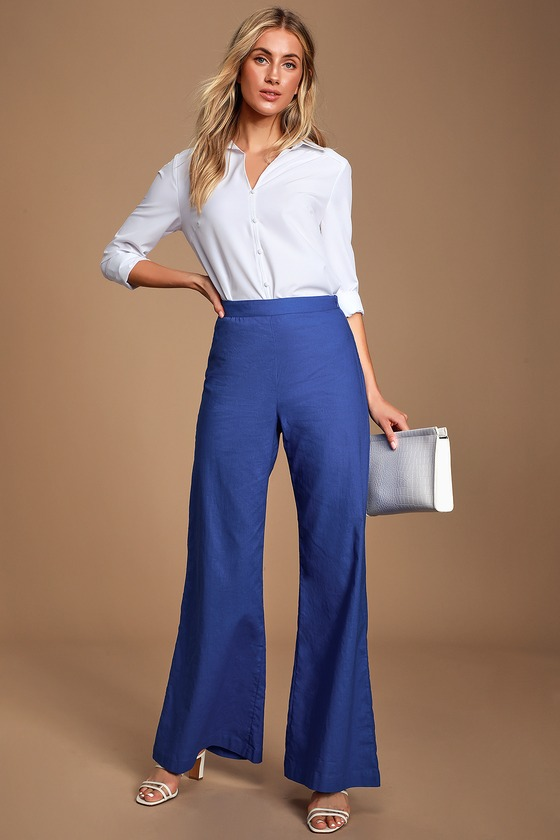 1930s Wide Leg Pants and Beach Pajamas Lainie Blue High-Waisted Wide-Leg Pants - Lulus $42.00 AT vintagedancer.com