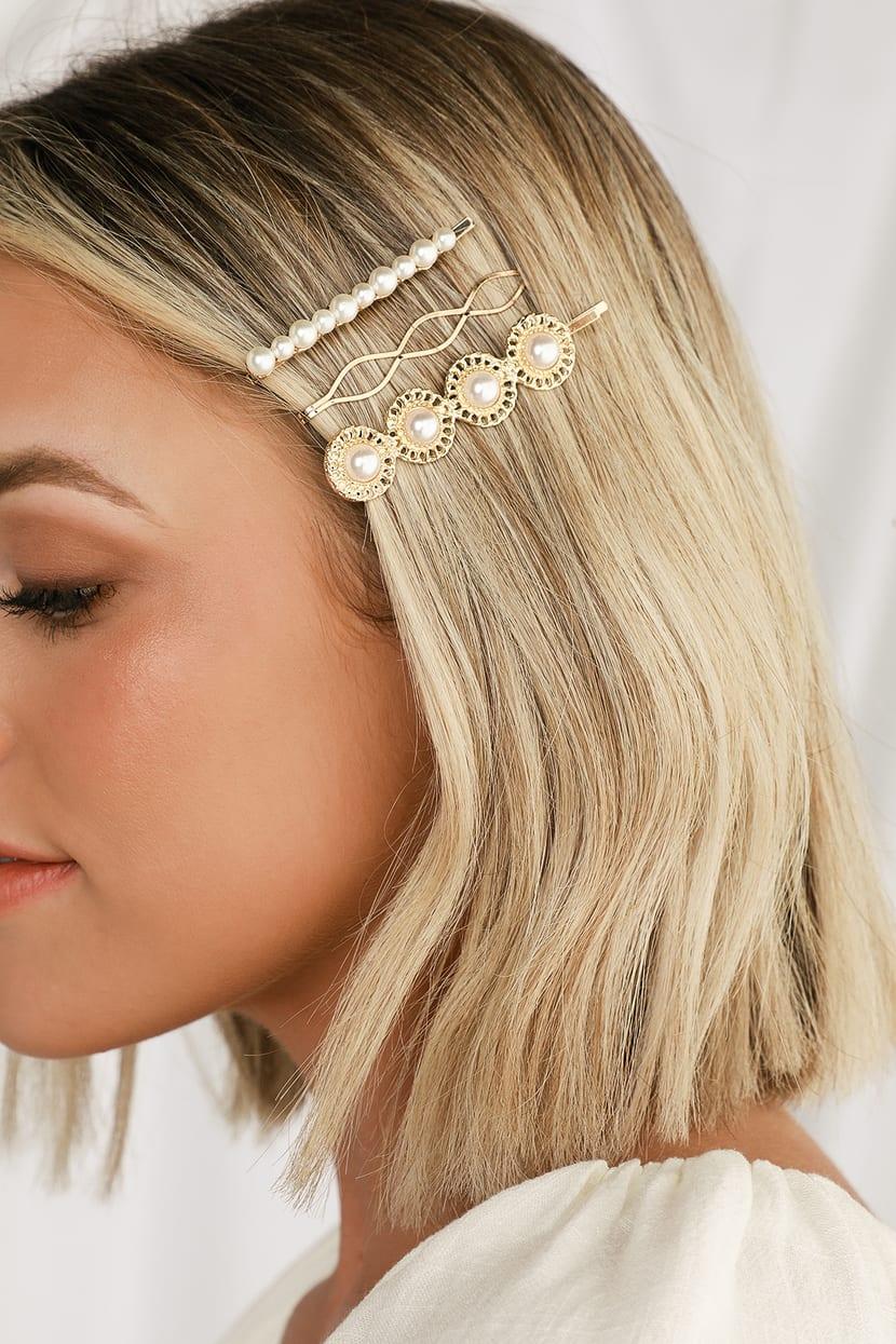 Petit Moments - Gold and Pearl Hair Pin Set - Hair Pins
