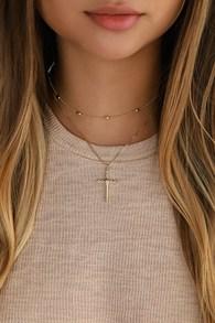 Abbigail Gold Cross Charm Choker Necklace