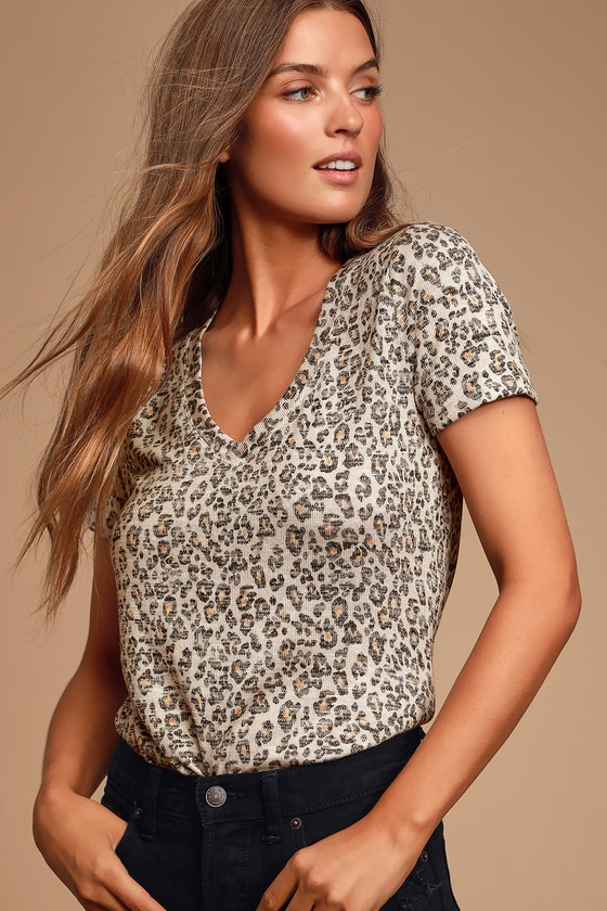 Kailey Beige Leopard Print V Neck Tee by Z Supply