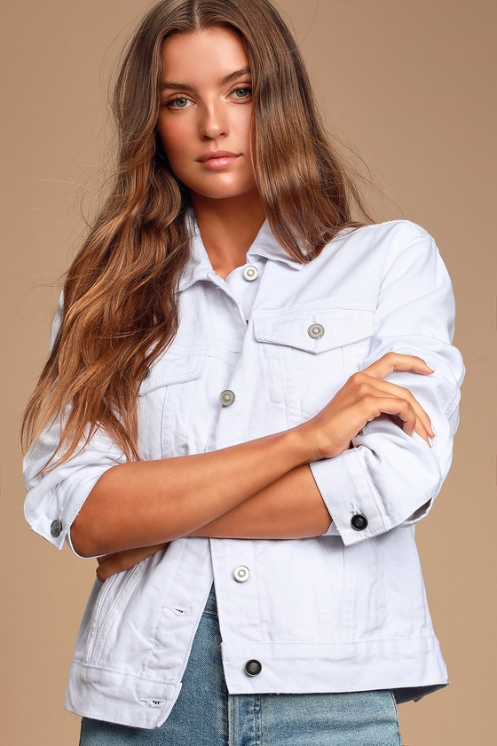 Lulus Exclusive! The Lulus Lalah White Denim Jacket is going to be getting some heavy rotation in our wardrobe! From going out to your everyday look, this classic, sturdy denim jacket boasts our favorite details: a structured collar, buttoning pockets and cuffs, matching front welted pockets, and a full button placket. Adjustable sides and a slightly oversized fit. Fit: This garment fits true to size. Length: Size small measures 24\