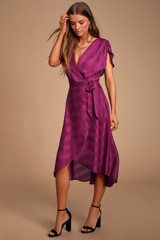 Lenita Plum Purple Striped Satin High-Low Midi Dress - Trendy Long Classy Outfit
