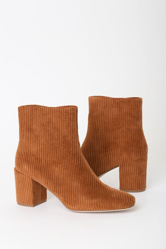 Strut your stuff in the Splendid Heather Whiskey Corduroy High Heel Booties! Soft corduroy shapes these chic, fall-ready boots with a tapered rounded-toe upper and trendy block heel. Bronze side zipper (with matching pull tab) for easy on and off. Pair with a cozy sweater and hot cocoa! 3\