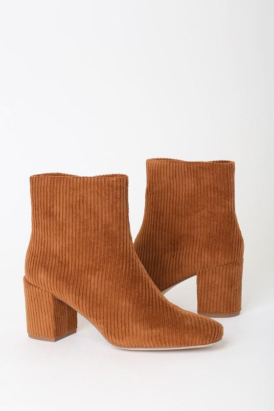Heather Whiskey Corduroy High Heel Booties