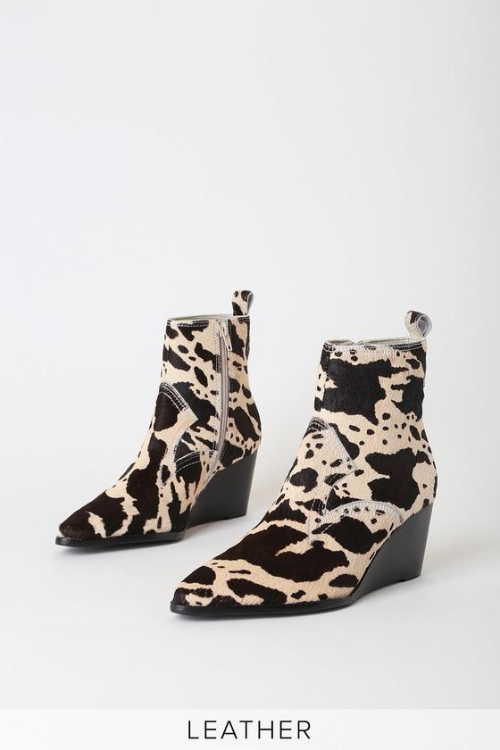Matisse Essentials Cow Print Boots Pony Fur Boots