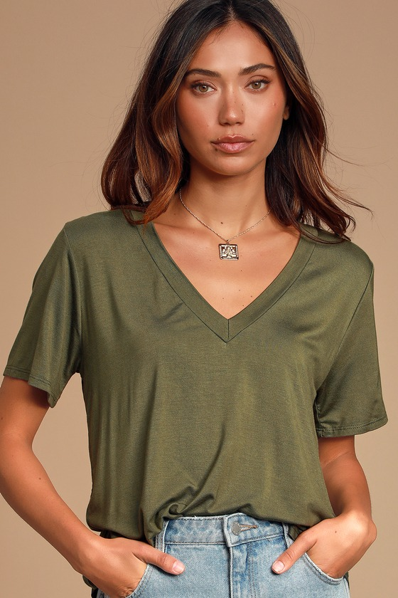 Tee For You Olive Green Tee by Lulus Basics