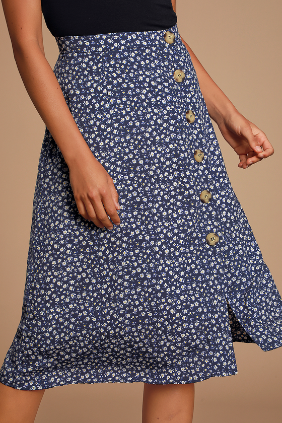 ROSEMARY NAVY BLUE FLORAL PRINT BUTTON-FRONT MIDI SKIRT