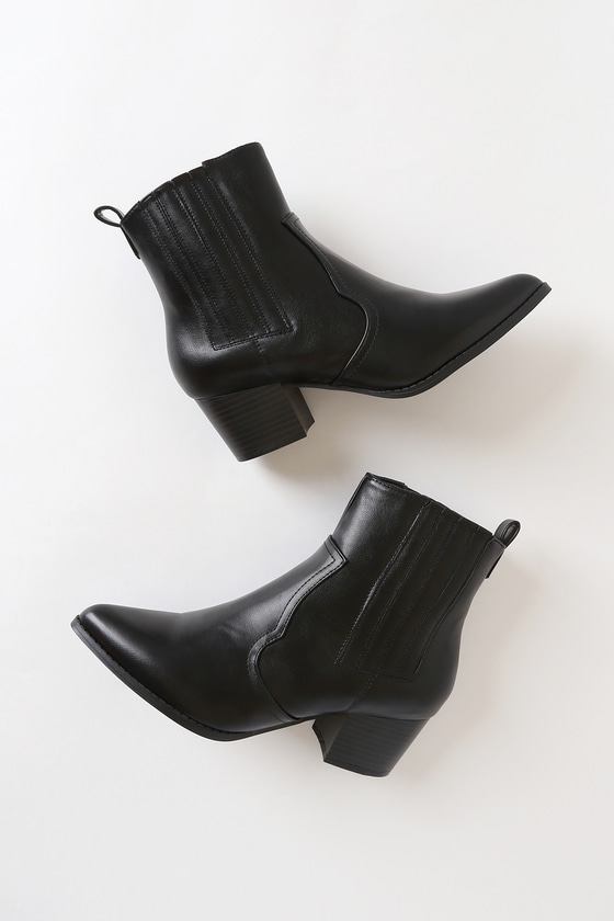MANDY JO BLACK POINTED-TOE ANKLE BOOTIES
