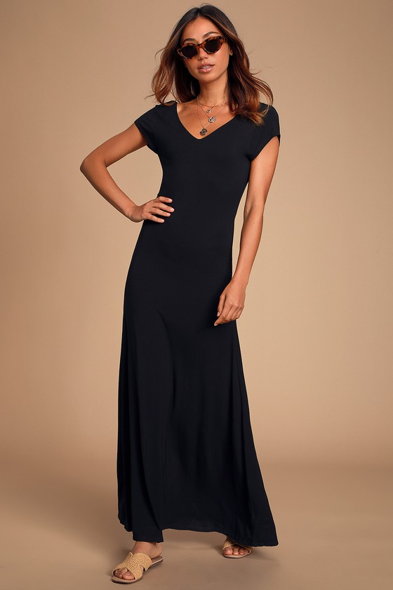 SIENA BLACK SHORT SLEEVE MAXI DRESS