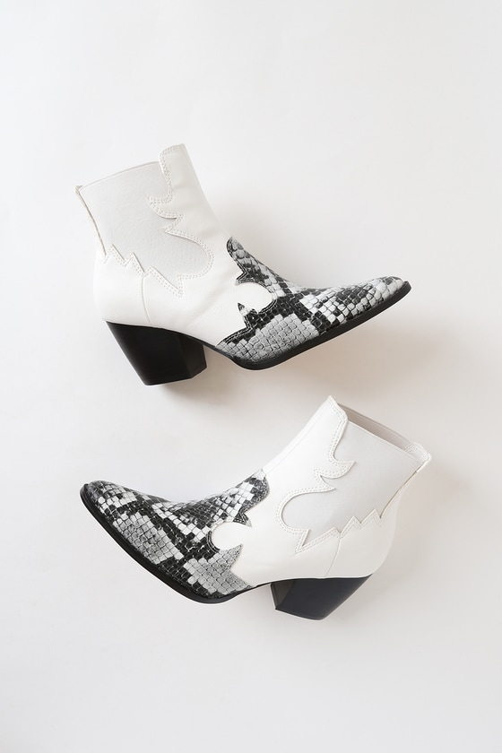 Defy White Snake Pointed-Toe Ankle Boots