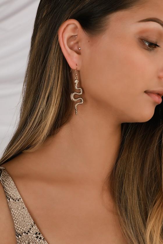 Blue Rhinestone Earrings Snake Earrings Dangle Earrings
