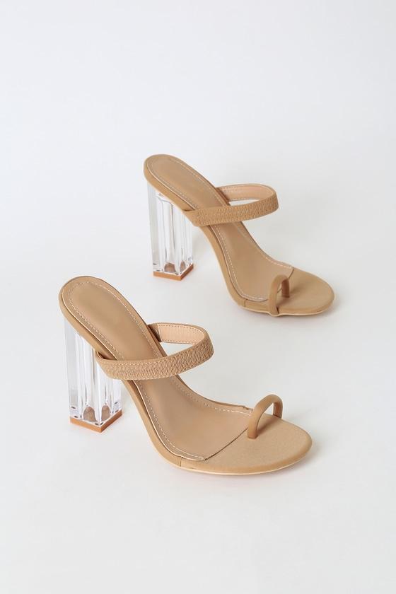 Lucite Block Heels - Toe-Loop Heels