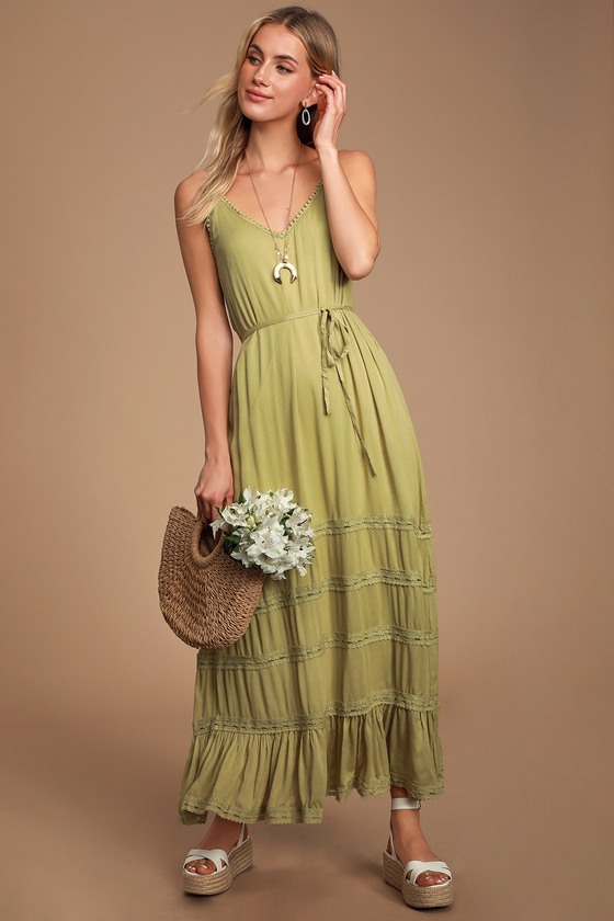 COULEE WASHED OLIVE GREEN LACE MAXI DRESS