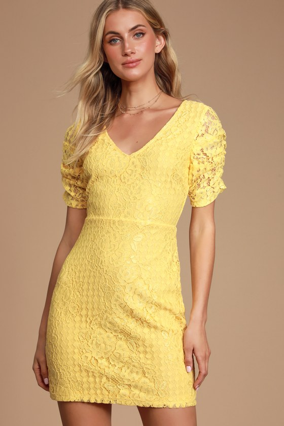 TATIANNA YELLOW LACE SHORT SLEEVE MINI DRESS