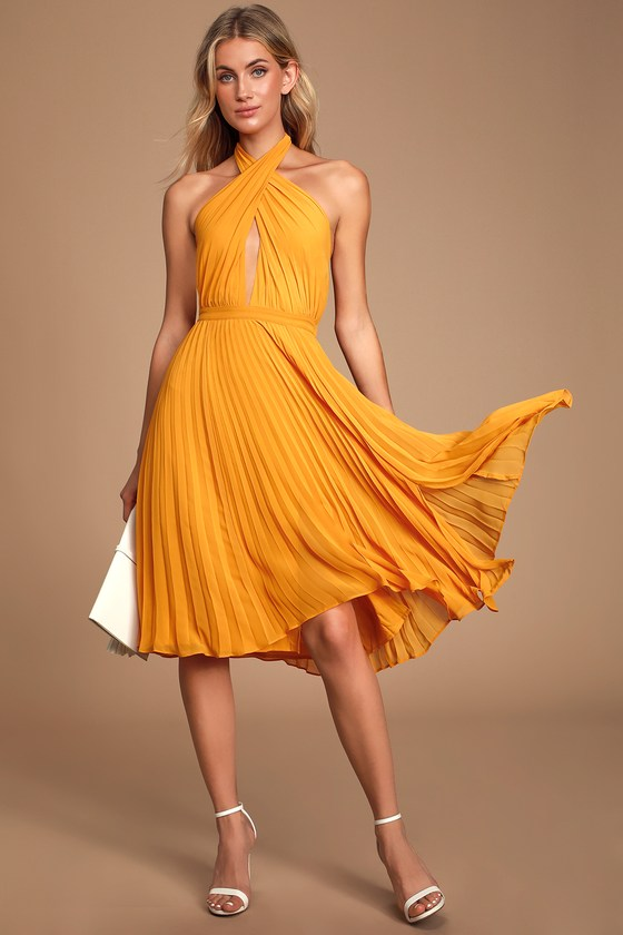 Ali & Jay SOHO HOUSE MARIGOLD PLEATED HALTER MIDI DRESS