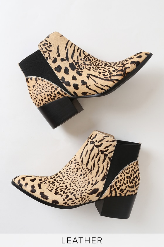 Chinese Laundry FINN NATURAL LEOPARD CALF HAIR POINTED TOE ANKLE BOOTIES