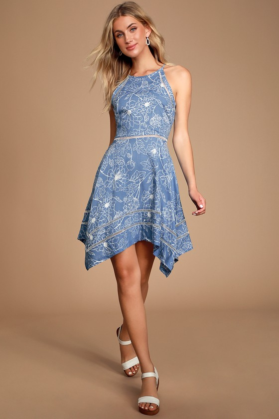 BAHAMA MAMA BLUE FLORAL PRINT SLEEVELESS HANDKERCHIEF DRESS