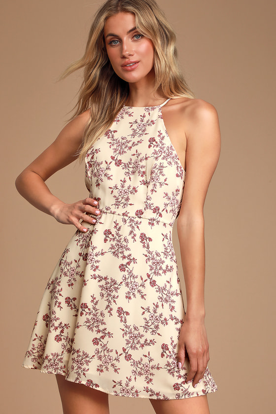 LIFETIME OF LOVE CREAM FLORAL PRINT SKATER DRESS