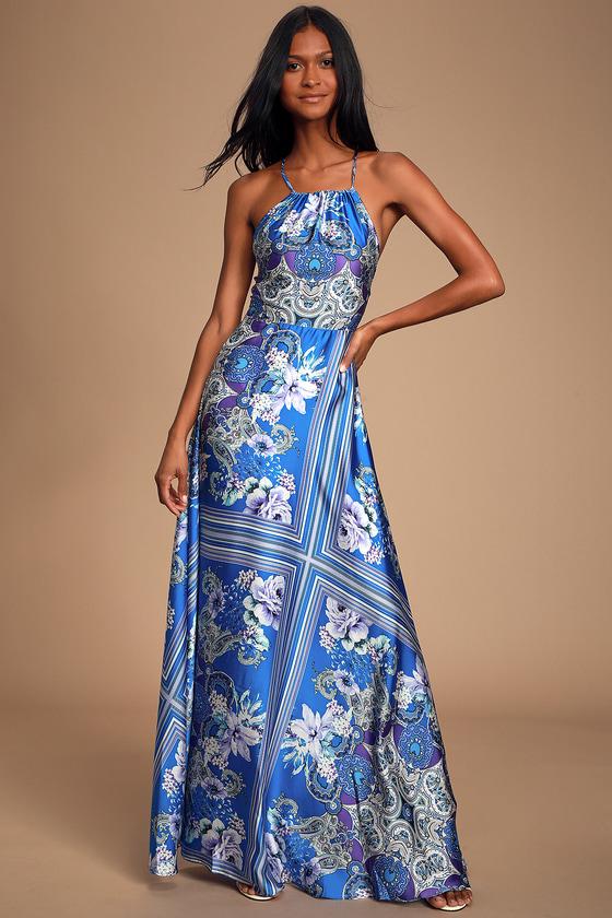70s Dresses – Disco Dress, Hippie Dress, Wrap Dress Whirlwind Blue Multi Scarf Print Satin Maxi Dress - Lulus $51.00 AT vintagedancer.com