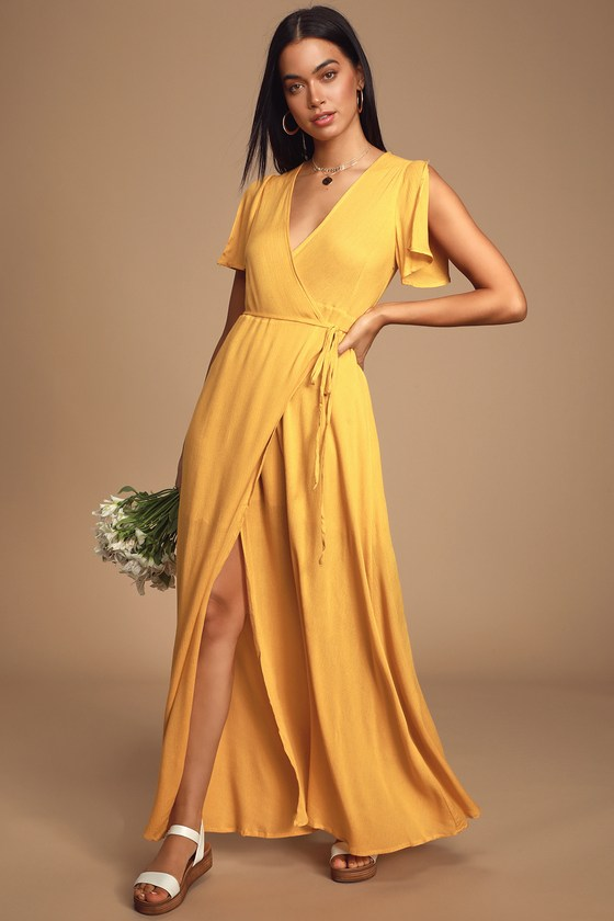 70s Prom, Formal, Evening, Party Dresses Much Obliged Golden Yellow Wrap Maxi Dress - Lulus $69.00 AT vintagedancer.com