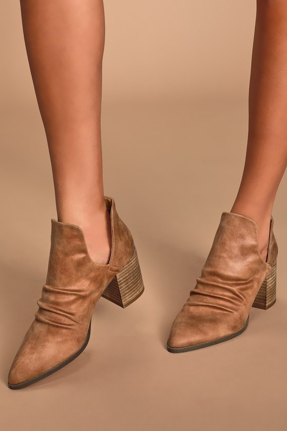 Tonya Tan Suede Cutout Ankle Booties