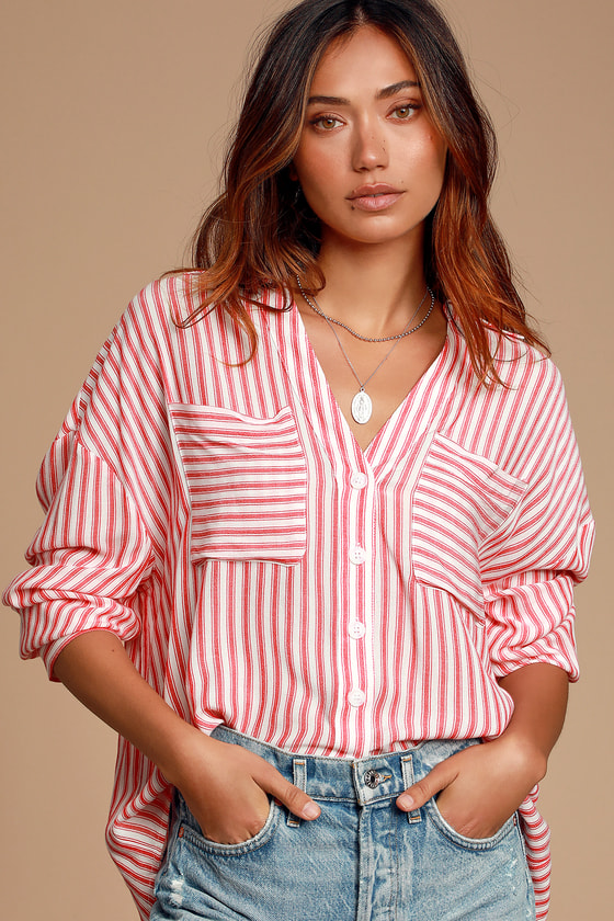 Azariah White and Red Striped Oversized Button-Up Top - Pretty Trendy Blouse