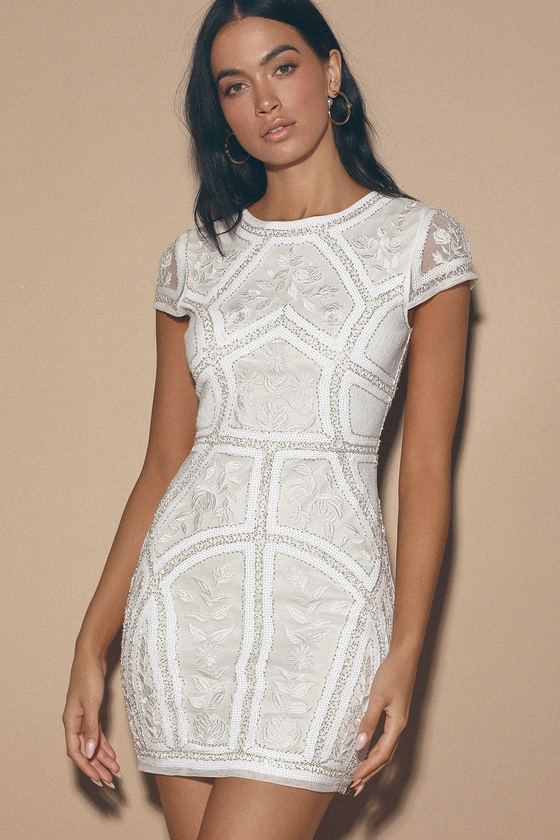 Spread Your Shine White Sequin Embroidered Bodycon Dress - Lulus