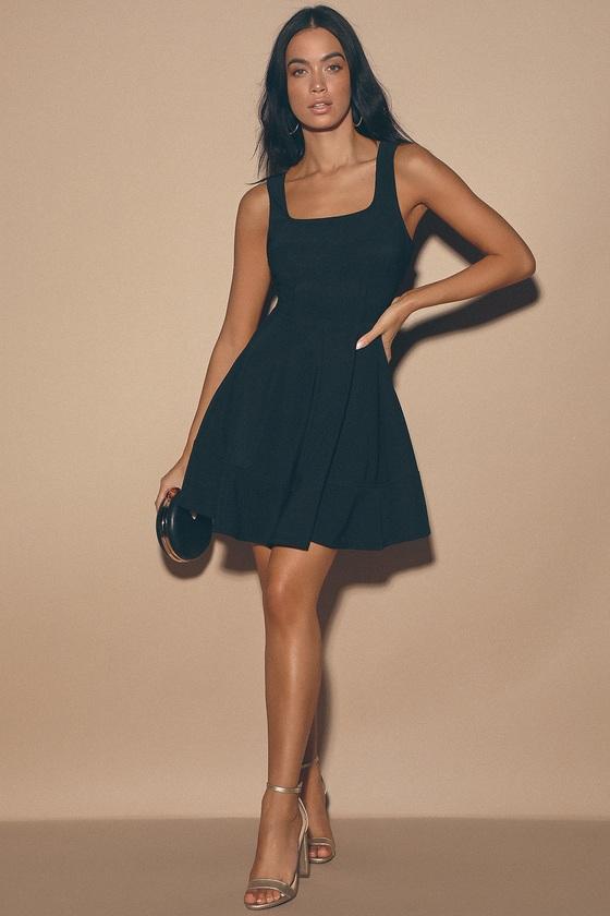 Pretty Black Dress - Skater Dress - LBD