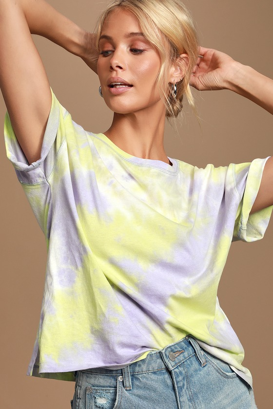 Groovy Light Purple and Neon Green Tie-Dye Tee - Hippie tshirt outfits
