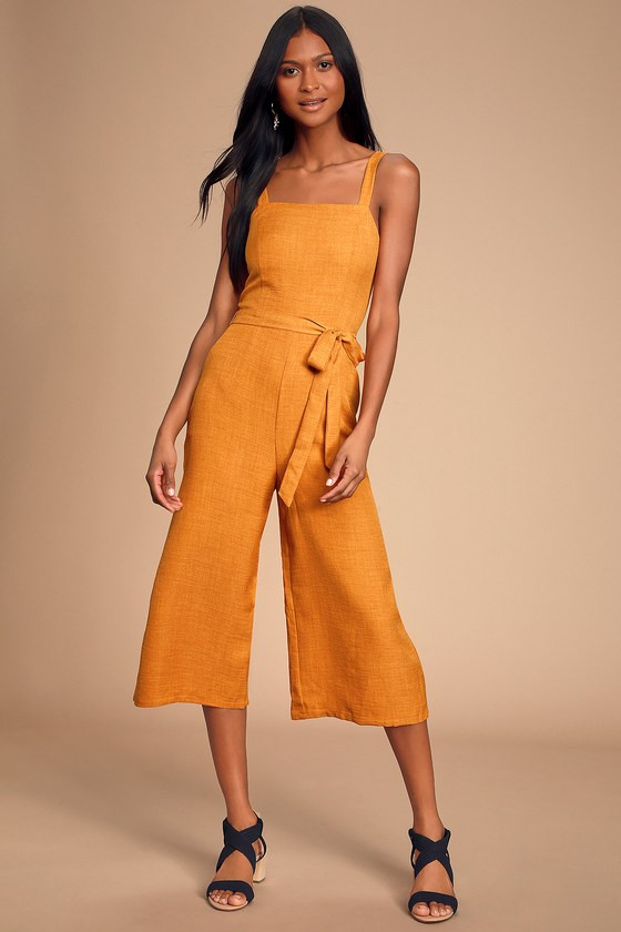 Morning Marigold Mustard Yellow Culotte Jumpsuit by Lulus