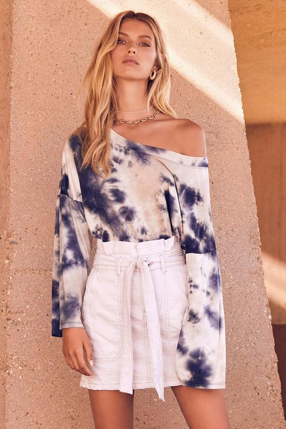 Splendor in the Grass Cream Paper Bag Waist Mini Skirt