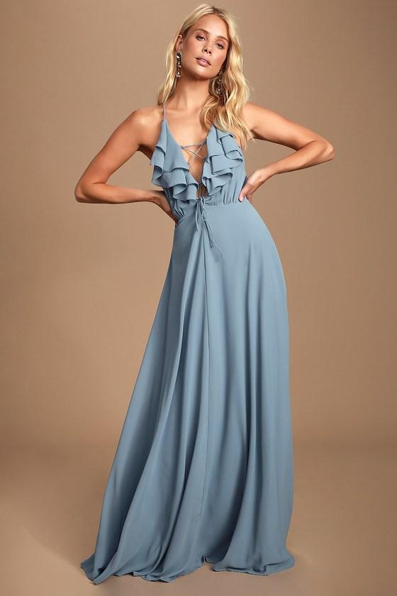5dc601af1 Lovely Slate Blue Dress - Lace-Up Maxi Dress - Ruffled Maxi Dress