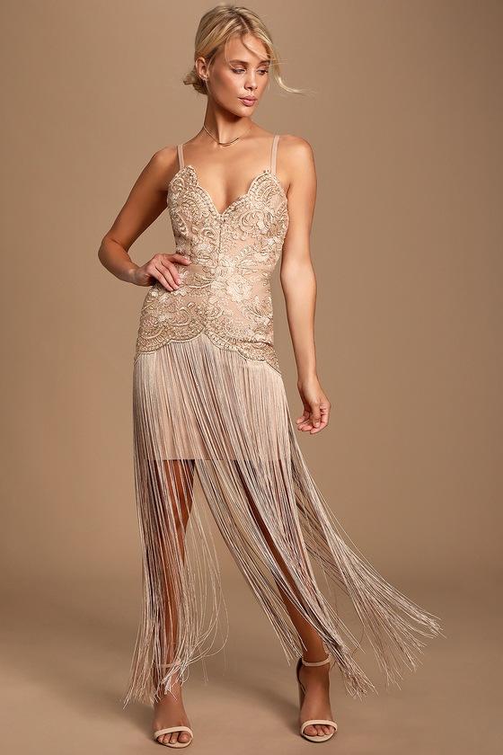 Vintage 1920s Dresses – Where to Buy Amour Beige Embroidered Fringe Bandage Dress - Lulus $240.00 AT vintagedancer.com
