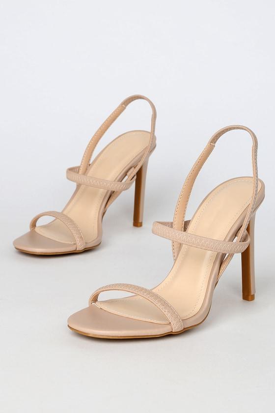 Sexy Beige Heels - Strappy Heels