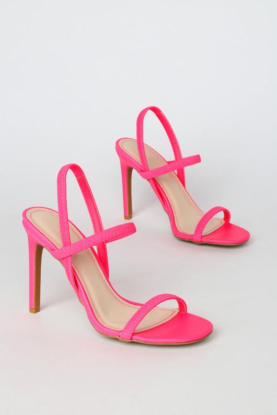 Sexy Neon Pink Heels - Strappy Heels