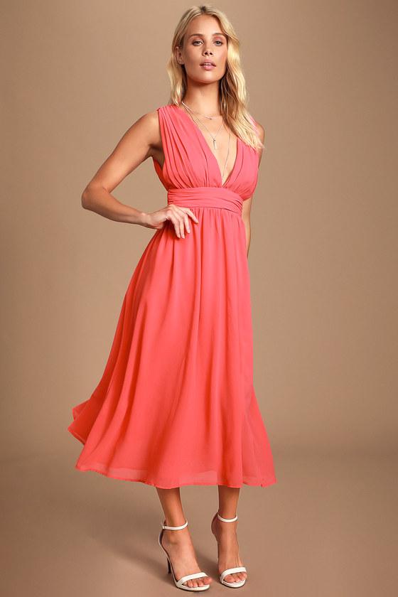 Pretty Pink Dress Coral Pink Midi Dress Plunging V
