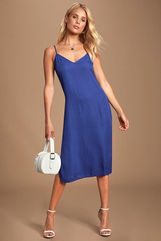 Paiton Royal Blue Print Midi Slip Dress