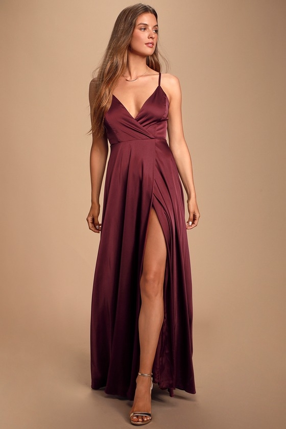 Gorgeous Burgundy Dress - Surplice Gown - Satin Maxi Dress