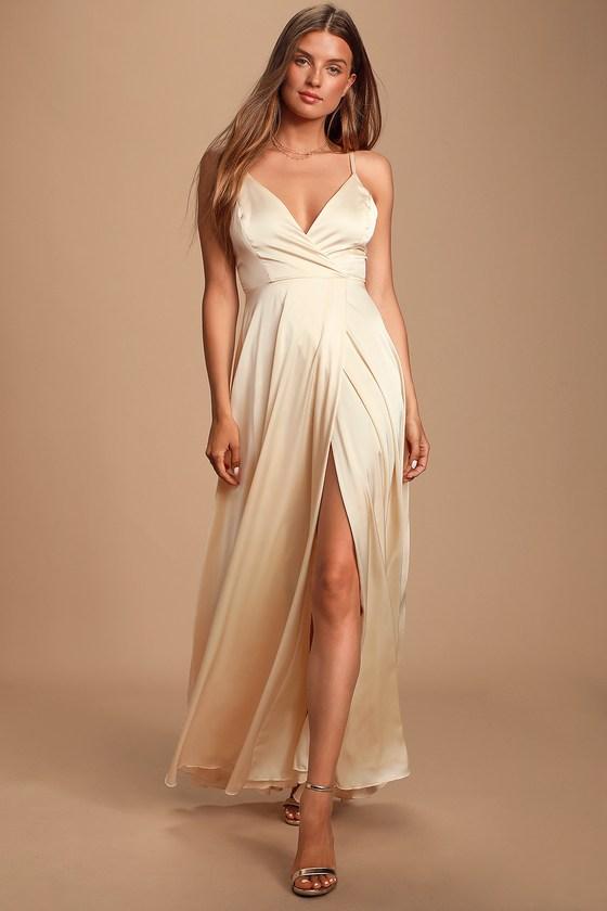 Vintage Style Wedding Dresses, Vintage Inspired Wedding Gowns Ode To Love Champagne Satin Maxi Dress - Lulus $98.00 AT vintagedancer.com