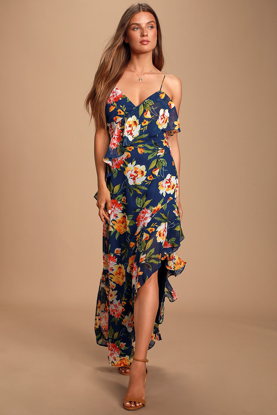 JUBILEE NAVY BLUE FLORAL PRINT RUFFLED LACE-UP MAXI DRESS