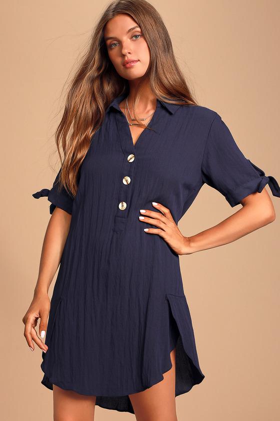 COUNTRYSIDE NAVY BLUE TIE-SLEEVE SHIRT DRESS