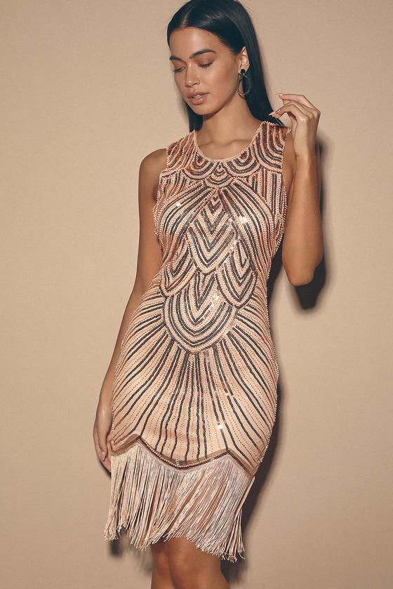 70s Prom, Formal, Evening, Party Dresses Full Glam Rose Gold Sequin Fringe Mini Dress - Lulus $78.00 AT vintagedancer.com