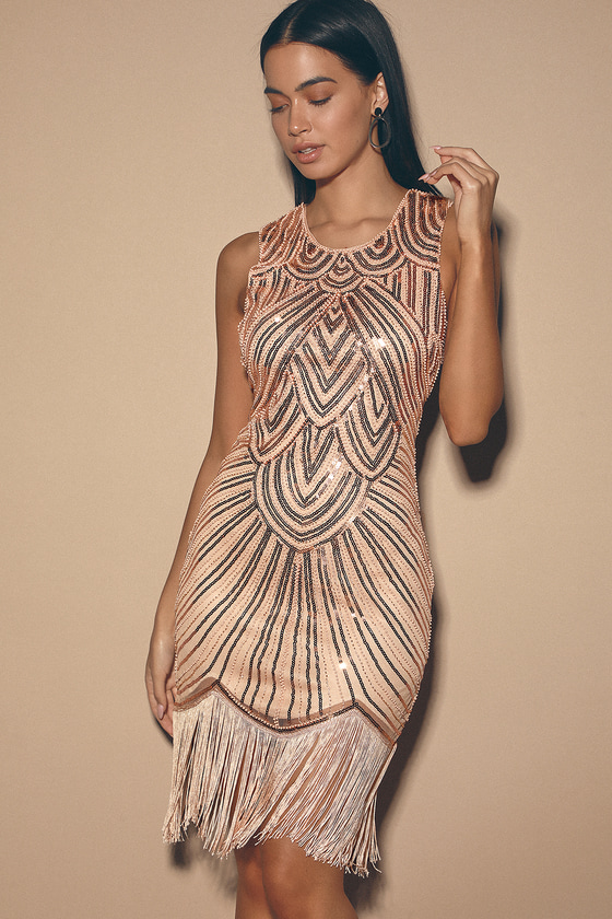 70s Dresses – Disco Dress, Hippie Dress, Wrap Dress Full Glam Rose Gold Sequin Fringe Mini Dress - Lulus $78.00 AT vintagedancer.com