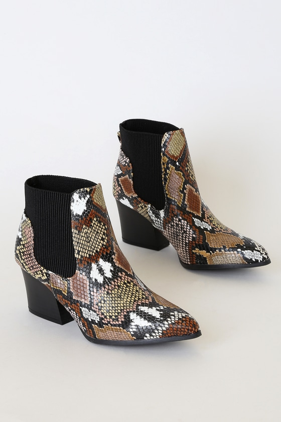 Korie Camel Multi Snake Pointed-Toe Ankle Booties