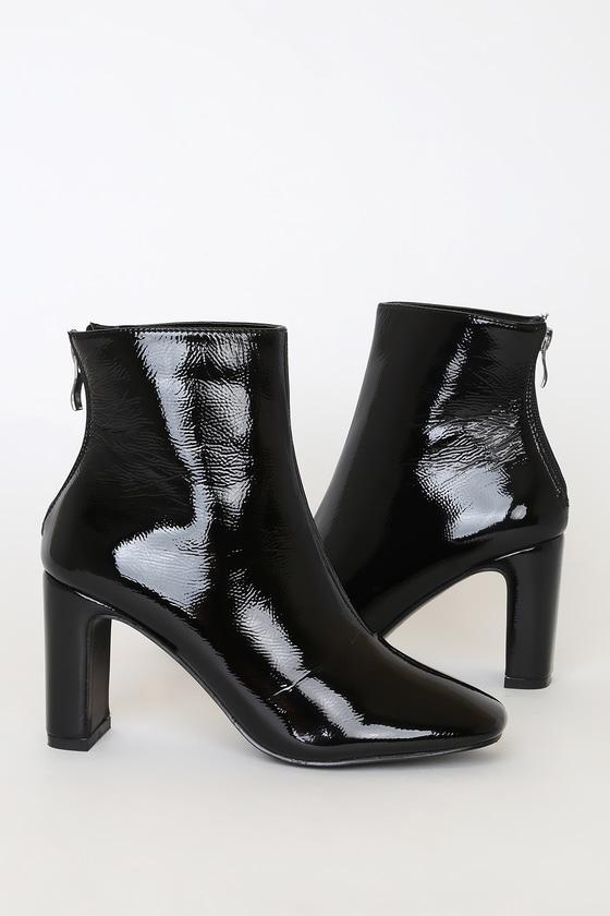 Rocia Black Patent High Heel Booties