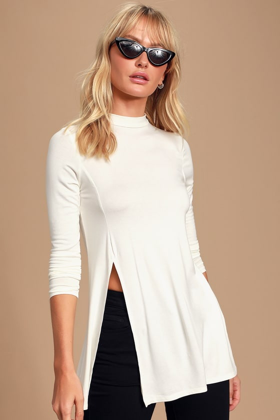 Eyes On Me White Long Sleeve Tunic Top by Lulus