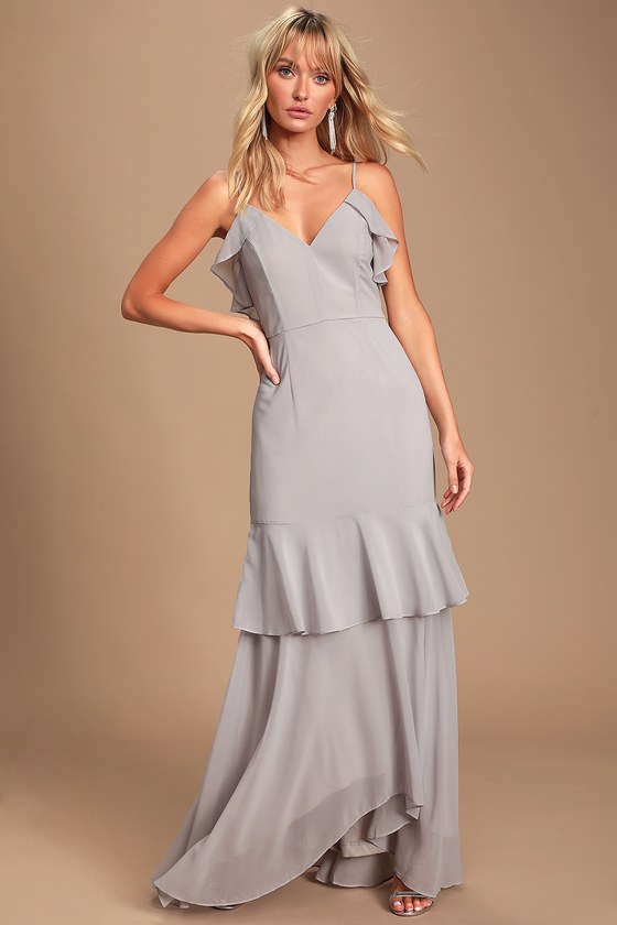 Cherish The Moment Light Grey Ruffled High Low Maxi Dress by Lulus