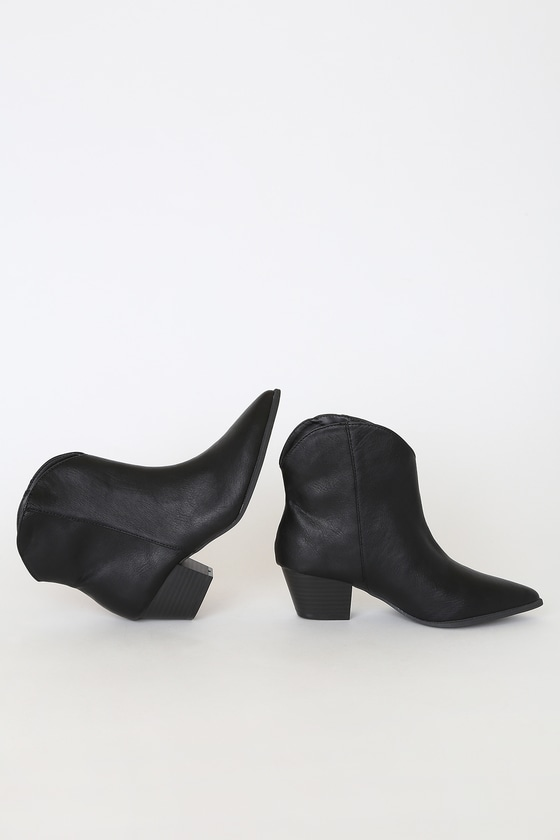 Alvena Black Crinkle Ankle Booties